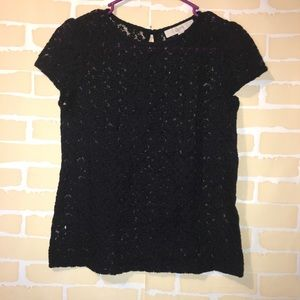 Black Loft Floral Sheer Blouse Size Small